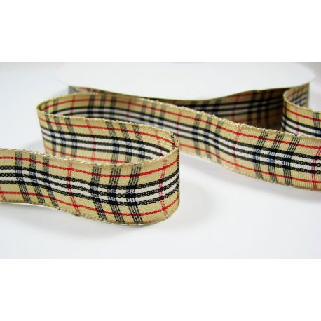 Double sided satin ribbon, checkered, beige, 15 mm wide, 1 meter