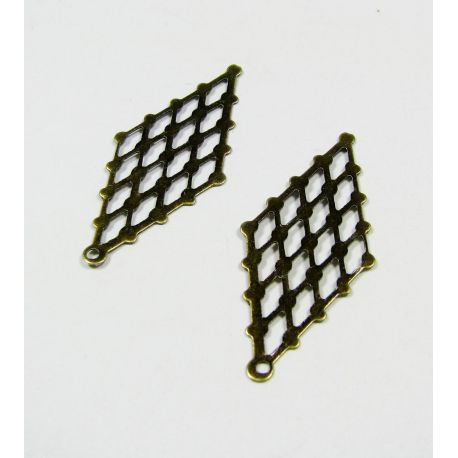 Openwork plate for jewelry making, bronze,32x14 mm, 20 pcs.