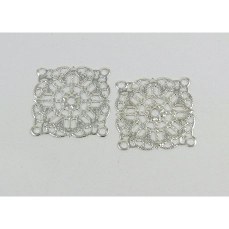 Openwork plate - for the manufacture of jewelry, silver color, 23x23 mm