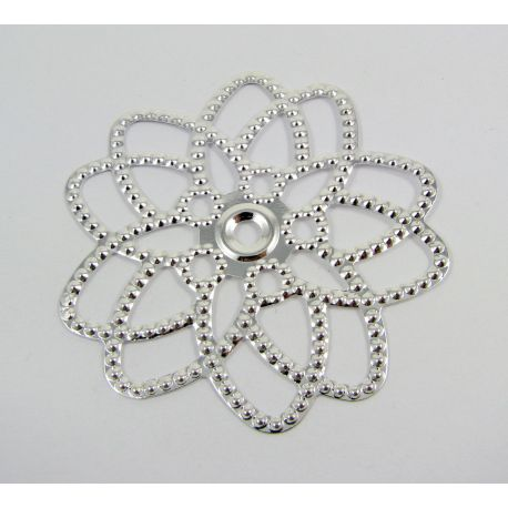 Openwork plate -for jewelry making, silver color, 60x58 mm