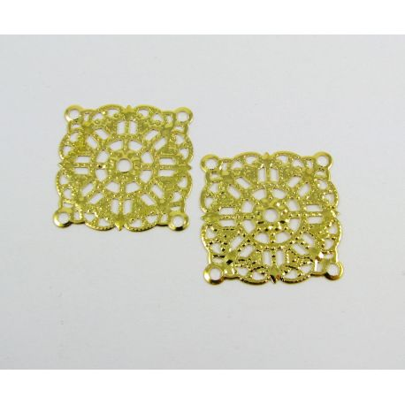 Openwork plate - for the manufacture of jewelry, gold color, 23x23 mm