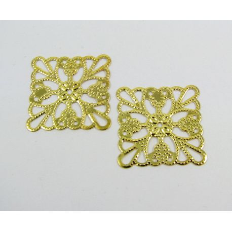 Openwork plate - for the manufacture of jewelry, gold color, 24 mm