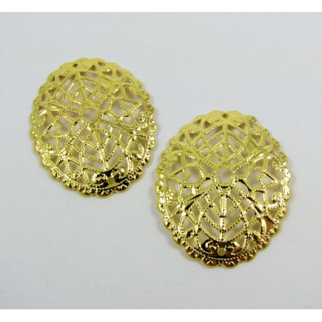 Openwork plate - for the manufacture of jewelry, oval, gold color, 30x24mm