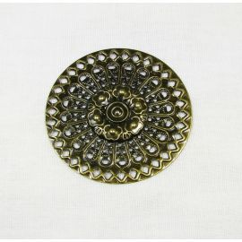 Openwork plate - for the manufacture of jewelry, bronze color, 48 mm