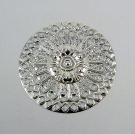 Ažūrinė plokštelė - skirta papuošalų gamybai, sidabro spalvos, 48 mm