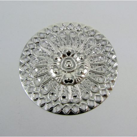 Openwork plate - for the manufacture of jewelry, silver color, 48 mm