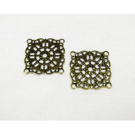 Openwork plate for jewellery, bronze, 23x23 mm