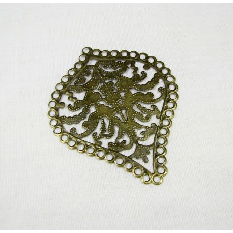 Openwork plate sheet, for the manufacture of jewelry, bronze, 67x55mm