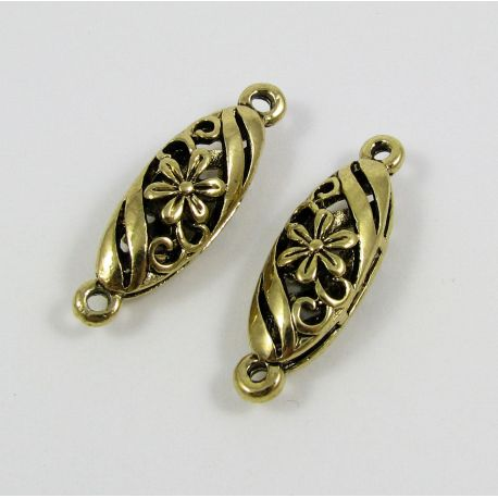 Jewelry distributor,aged silver gold, oval, 30x9 mm