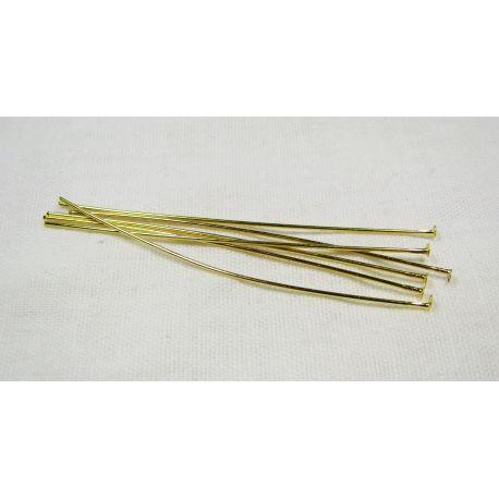 Brass pins, gold with flat head 60x0.7 mm 100 pcs.