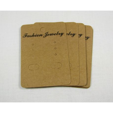 Card for earrings, brown 68x50 mm, 10 pcs.