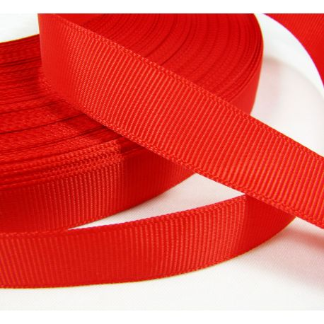 Satin ribbon, double side, red, 16 mm wide, 1 meter