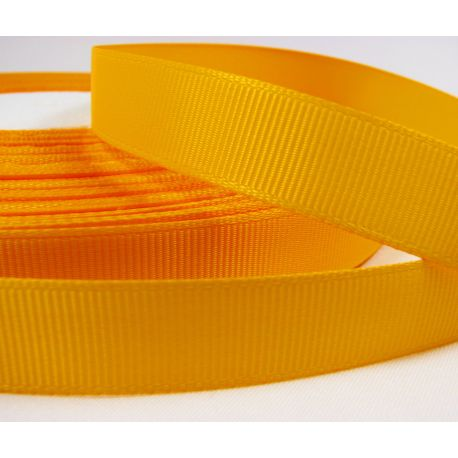 Satin ribbon, double side, yellow, 16 mm wide, 1 meter