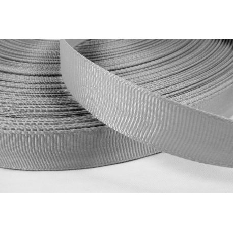 Satin ribbon, double side, grey, 16 mm wide, 1 meter