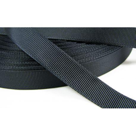 Satin ribbon, double side, black, 16 mm wide, 1 meter