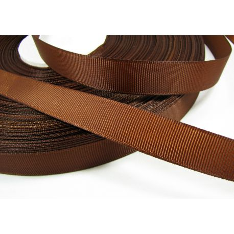 Satin ribbon, double side, brown, 16 mm wide, 1 meter