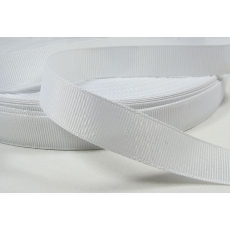 Satin ribbon, double side, white, 16 mm wide, 1 meter
