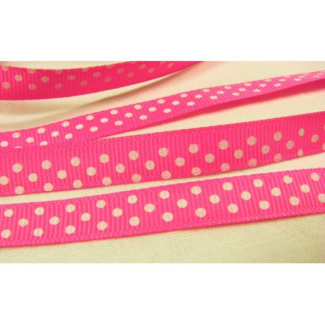 Satin ribbon, double side, bright pink, 10 mm wide, 1 meter