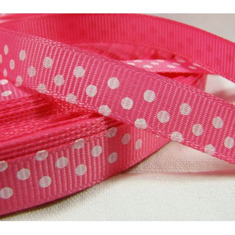 Satin ribbon, double side, pink, 10 mm wide, 1 meter