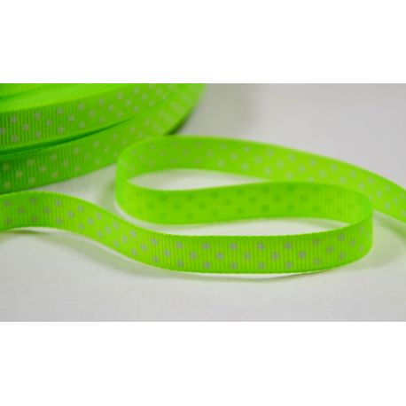 Satin ribbon, double side, salad, 10 mm wide, 1 meter