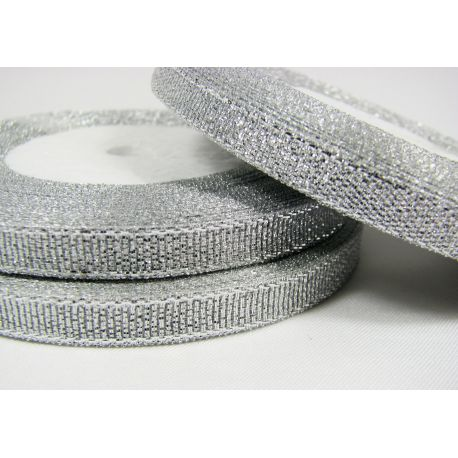 Glossy stripe, silver, double-sided, 6 mm wide, coil 22 m