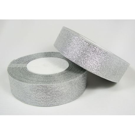 Glossy stripe, silver, double-sided, 25 mm wide, coil 22 m