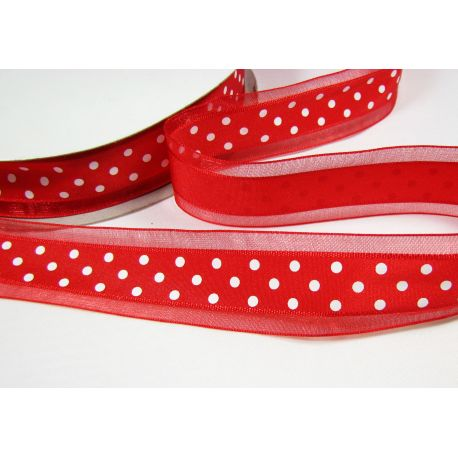 Organza strip, bright red with white dots 25 mm wide