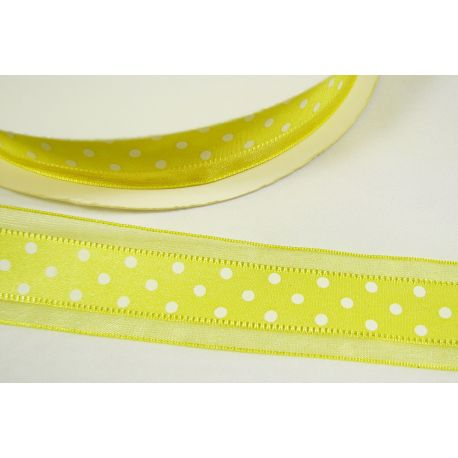 Organza strip, light yellow with white dots 25 mm wide