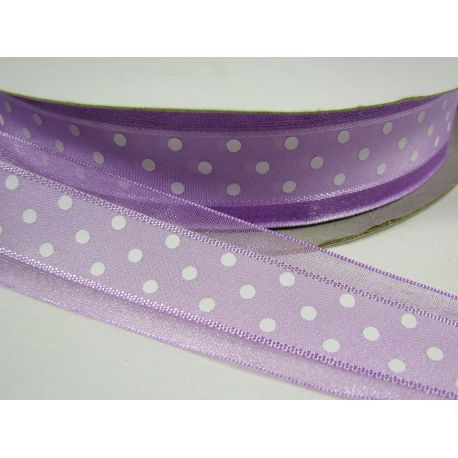 Organza strip, lilac with white dots 25 mm wide