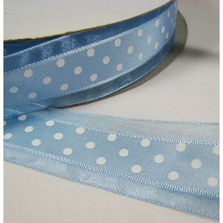 Organza strip, azure with white dots 25 mm wide