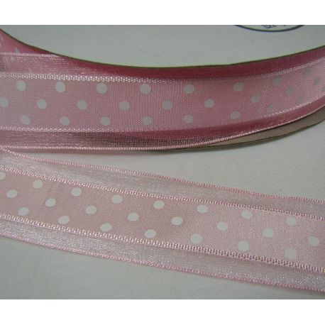 Organza strip, light pink with white dots 25 mm wide