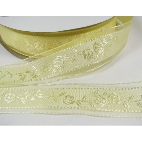 Organza ribbon with rose, yellowish 25 mm wide, 1 m.