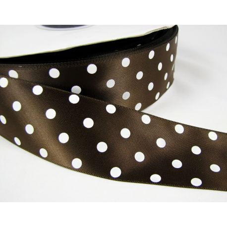Satin ribbon, brown with white dots, 40 mm wide, 1 meter