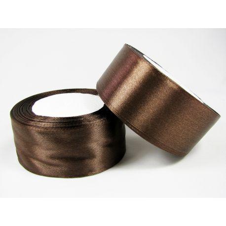 Satin ribbon, dark brown, 40 mm wide, 1 meter