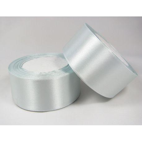Satin ribbon, light bluish, 40 mm wide, 1 meter