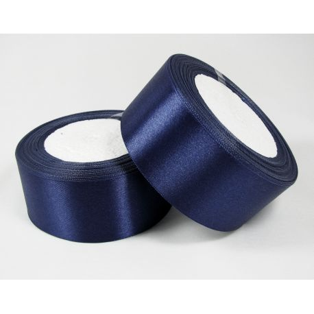 Satin ribbon, blue, 40 mm wide, 1 meter