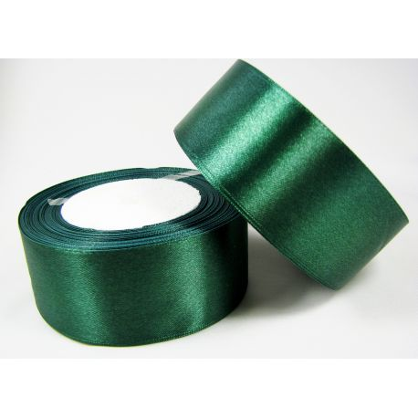 Satin ribbon, dark green, 40 mm wide, 1 meter