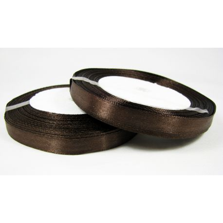 Satin ribbon, brown, 10 mm wide, 21 meters