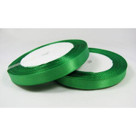 Satin ribbon, bright green, 10 mm wide, 21 meters