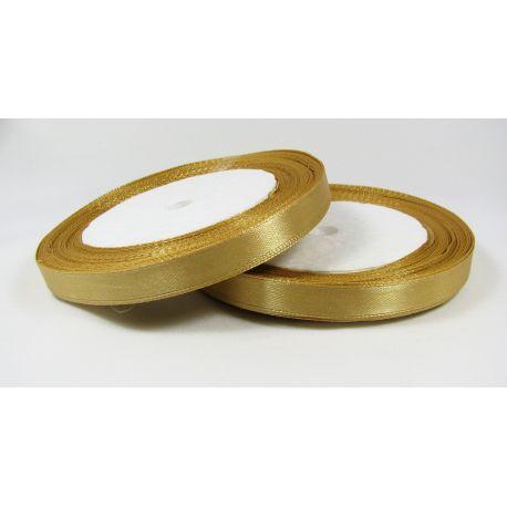 Satin ribbon, dark gold, 10 mm wide, 21 meters
