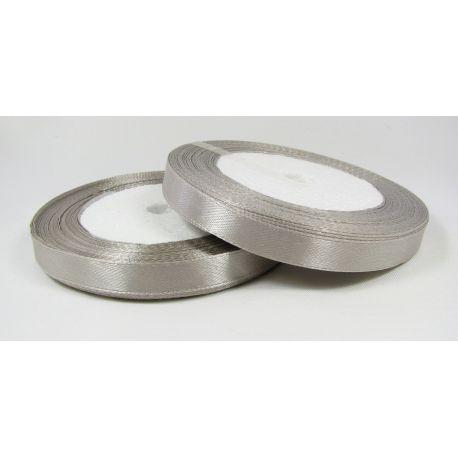 Satin ribbon, grey, 10 mm wide, 21 meters