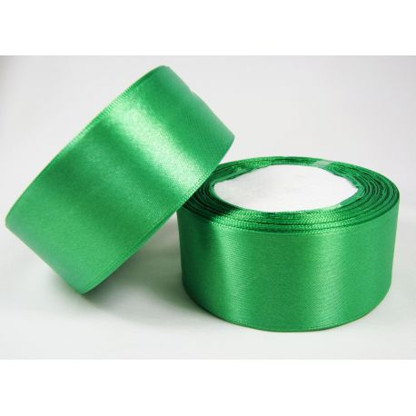 Satin ribbon, bright green, 40 mm wide, 1 meter