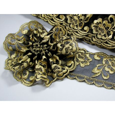 Openwork strip, black - gold, 60 mm wide, 1 meter