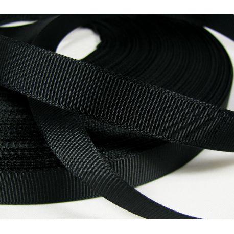 Grosgrain strip, double side, black, 12 mm wide, 1 meter