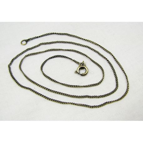 Chain with clasp, aged bronze, length 1.2 mm 48 cm, 5 pcs.