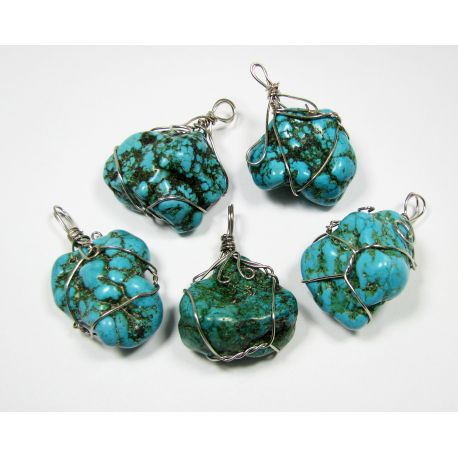 Turquoise pendant, irregular oval, wire braided 1 piece