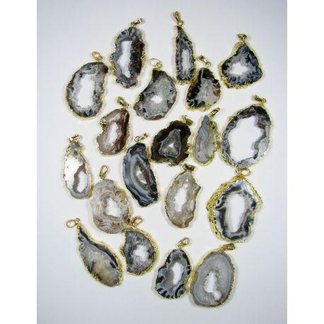 Agate quartz pendant in gray-white, gold bracket, 1 piece