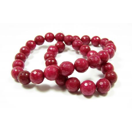 Jade bead thread, burgundy color, ribbed, round shape 10 mm, 1 pcs.