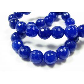 Nefrito karoliukai ryškiai mėlynos spalvos, briaunuoti, apvalios formos 10 mm, 1 vnt.