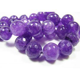 Nefrito karoliukai violetinės spalvos, briaunuoti, apvalios formos 10 mm, 1 vnt.